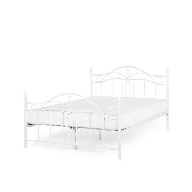 BELIANI Lit métallique blanc 160x200 cm design romantique ANTLIA - blanc