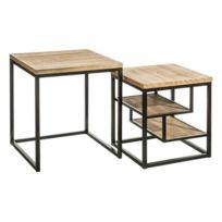 Tables basses gigognes plateaux en bois et pieds métal noir Leonie - L 50.8  x l 50.8 c25f1e5872ac