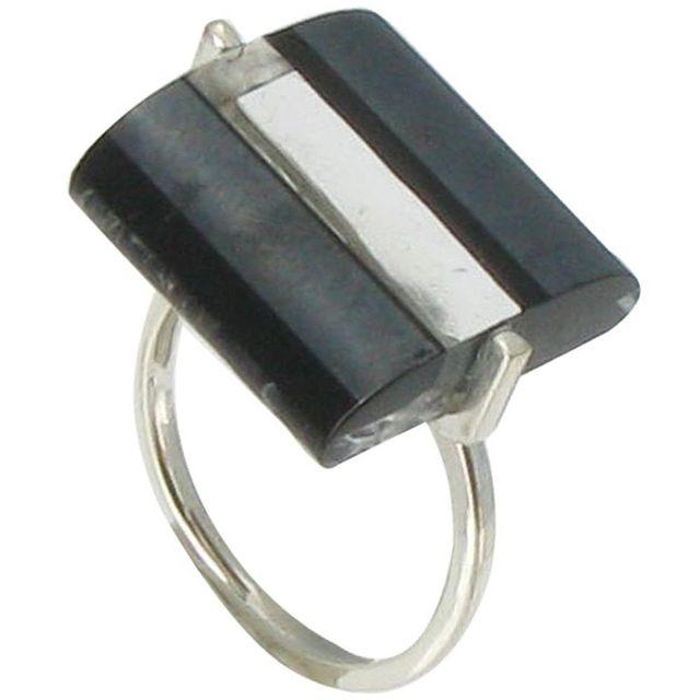 5179dc289e4ab Les Poulettes Bijoux - Bague Rayures Verre Rectangle Noire et Transparente.