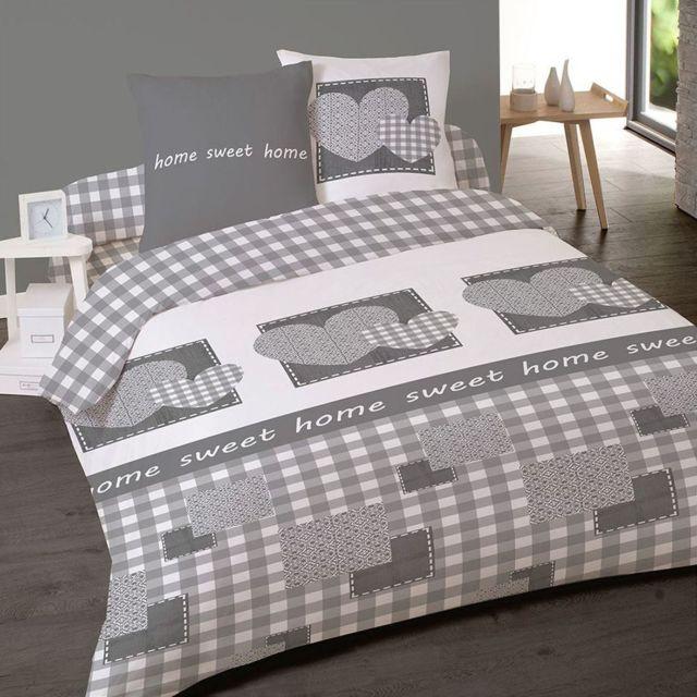 dourev housse de couette en flanelle 200x200 rafaela 2 taies blanc gris 200cm x 200cm. Black Bedroom Furniture Sets. Home Design Ideas