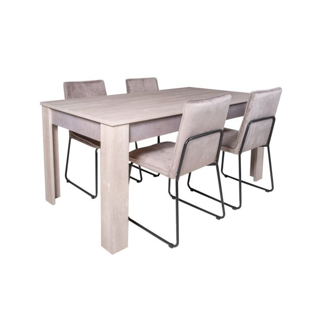 TOPDECO Table Antibes + 4 chaises Melbourne velours taupe