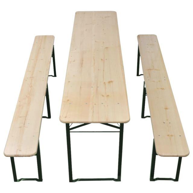 Icaverne - Ensembles de meubles d'extérieur ensemble Table avec 2 bancs 220 cm Bois de sapin
