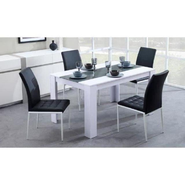 TABLE A MANGER SEULE DAMIA Table a manger de 4 a 6 personnes style contemporain blanc et gris mat - L 140 x l 90 cm