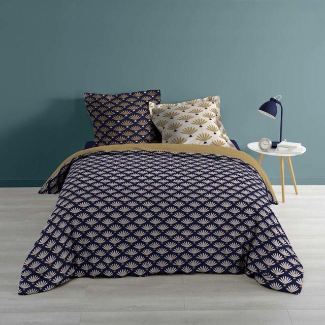 paris prix parure de lit 3 pi ces windsor 240x260cm bleu pas cher achat vente parures de. Black Bedroom Furniture Sets. Home Design Ideas
