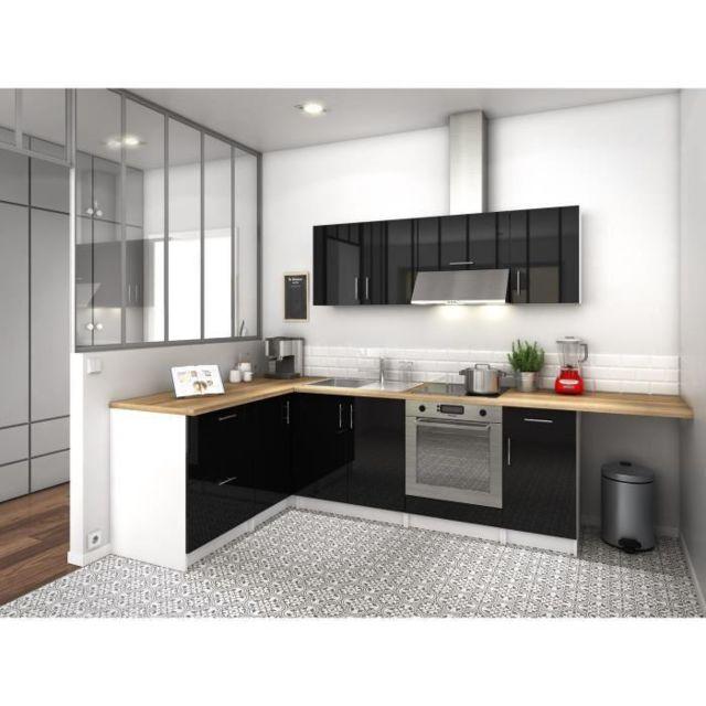 cuisine noire laque cuisine linaire meubles finition laque noire cot salon et blanche cot. Black Bedroom Furniture Sets. Home Design Ideas