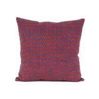 Present Time - Coussin 100% coton déhoussable motif losange Tuned Mesh - Rouge | Bleu - 45x45cm