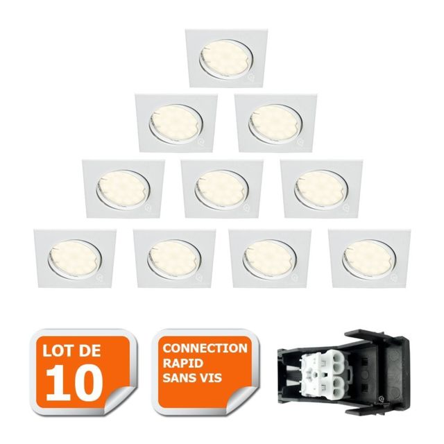 Eurobryte Lot De 10 Spot Encastrable Orientable Led Carre Gu10 230V eq. 50W Blanc Neutre