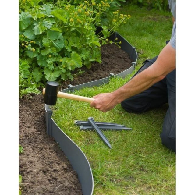 Icaverne TUTEUR - TOPIERE - LIEN - FIL - ATTACHE Sachet de 10 ancres pour bordure de jardin en polypropylene - H 26,7 x