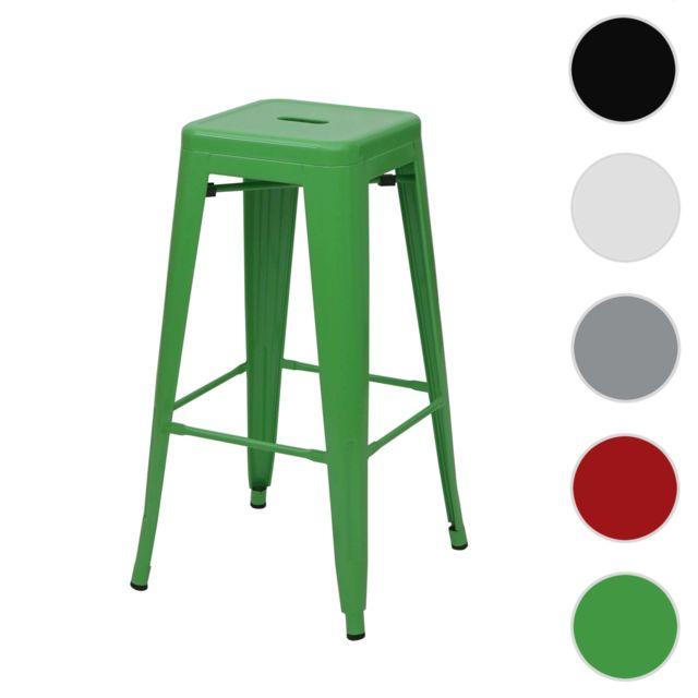 Mendler Tabouret de bar Hwc-a73, chaise de comptoir, métal, empilable, design industriel ~ vert
