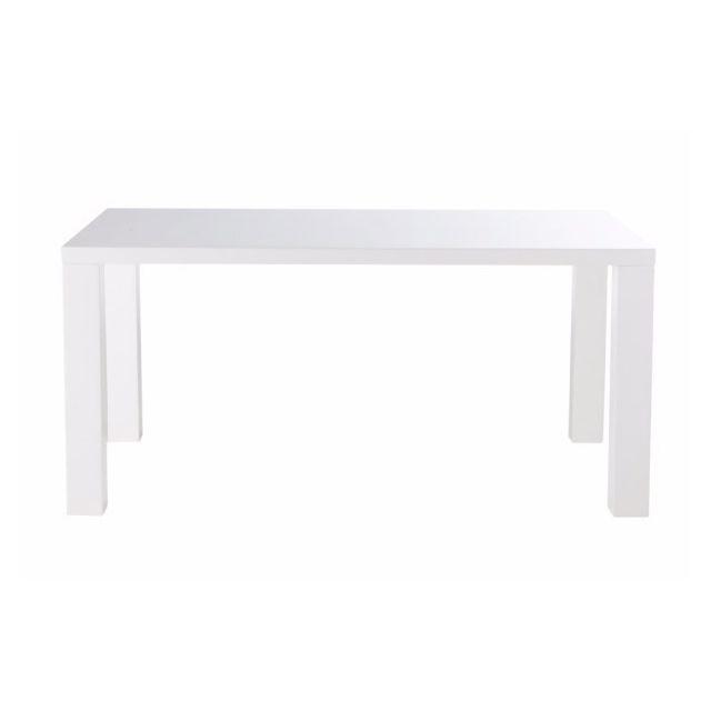 Tousmesmeubles Table de repas Blanc Brillant - Jodie - L 160 x l 90 x H 75
