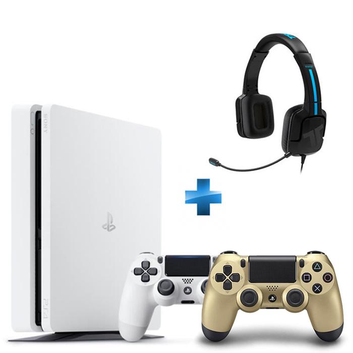 Playstation 4 Slim 500 Go Blanche + Dualshock 4 Gold + TRITTON KAMA