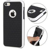 Techexpert - Coque en tpu + contour plastique pour iphone 5C petits motifs cubes bicolore blanc / noir