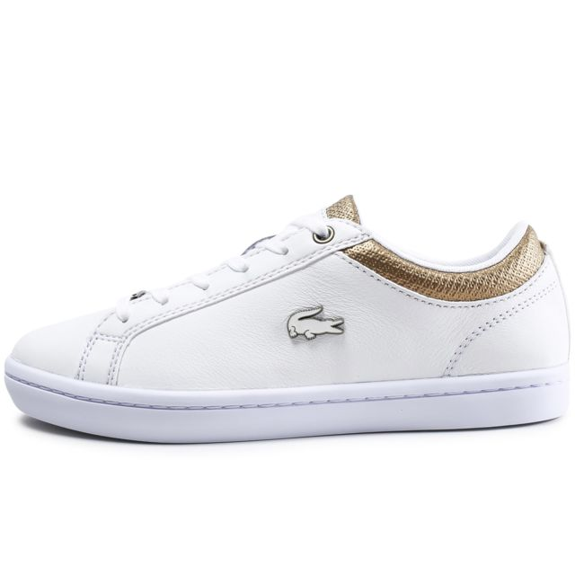 11f769086e69 Lacoste - Straightset Blanche Et Or - pas cher Achat / Vente Baskets ...