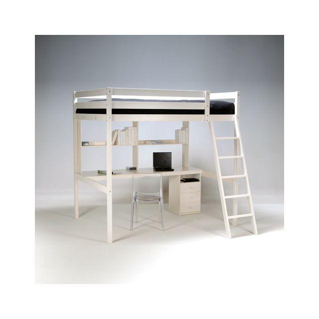 no name lit mezzanine 140x190 studio caisson 3 tiroirs bureau tag re 1 sommier. Black Bedroom Furniture Sets. Home Design Ideas
