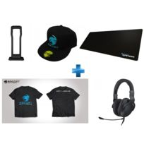 ROCCAT - Pack Gaming Casque CROSS + Repose Casque Modulok + Tapis de Souris XXL Choice Cloth + T-Shirt taille M, + Casquette