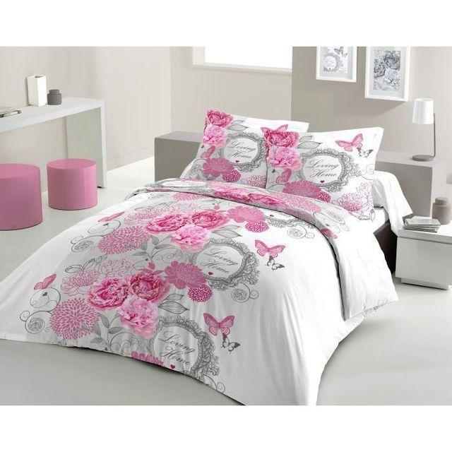 lovely home parure de couette loving home 100 coton 1 housse de couette 200x200 cm 2. Black Bedroom Furniture Sets. Home Design Ideas