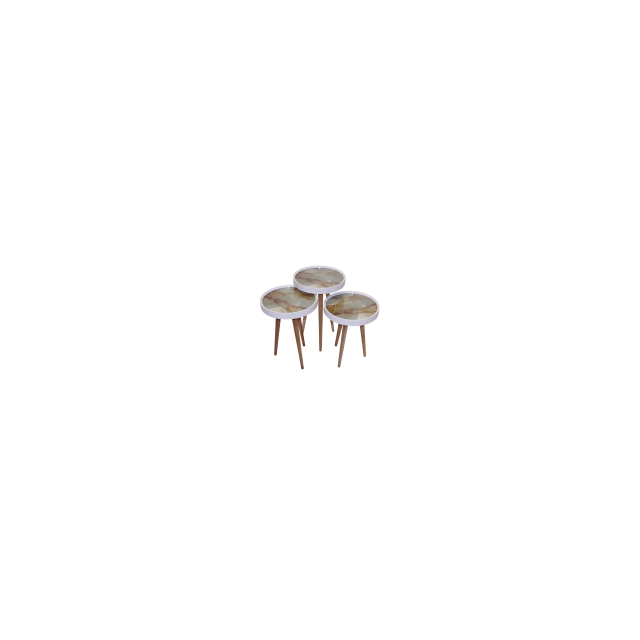 Alphamoebel Set de 3 tables gigognes Marmor1 rondes en bois Mdf blanc