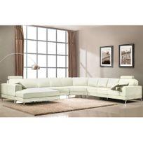 Linea Sofa - Canapé panoramique 7 places cuir supérieur Donatello Ii - Ivoire - Angle gauche