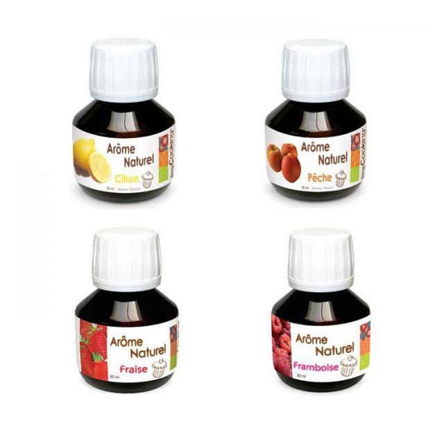 Scrapcooking Coffret 4 arômes alimentaires fruitiers framboise, fraise, pêche, citron