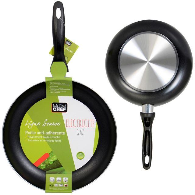 promobo poele de cuisson revtement double couche anti adhrente gaz et electrique 24cm - Cuisiner Au Gaz Ou L Lectricit