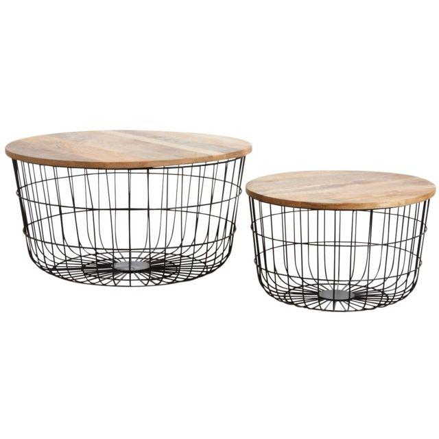 AUBRY GASPARD Tables basses en métal noir et bois naturel Lot de 2