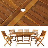 Malatec - Salon de jardin en bois naturel huilé 1 table + 6 chaises ...