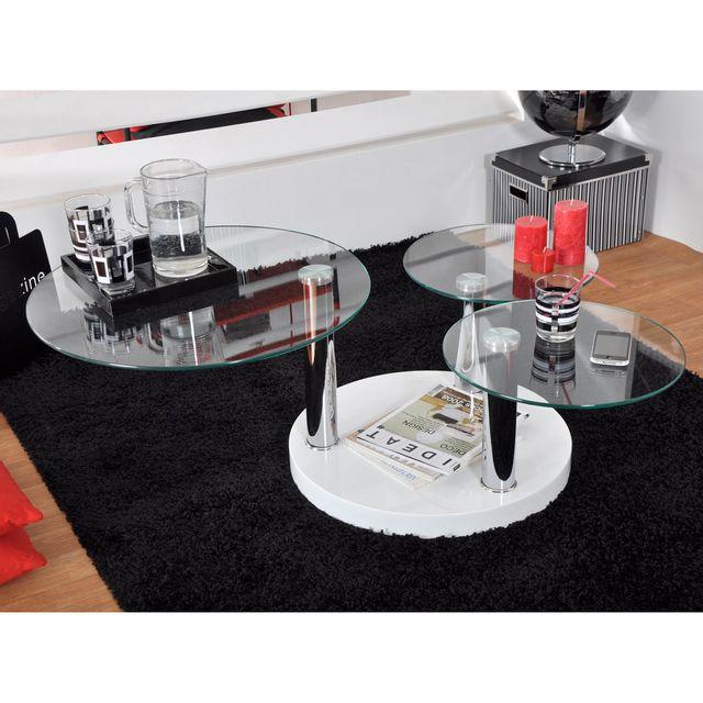 Marque Generique Table basse ronde - Verre Trempé - Laqué Blanc - L60/116xl60/109xH42cm Game