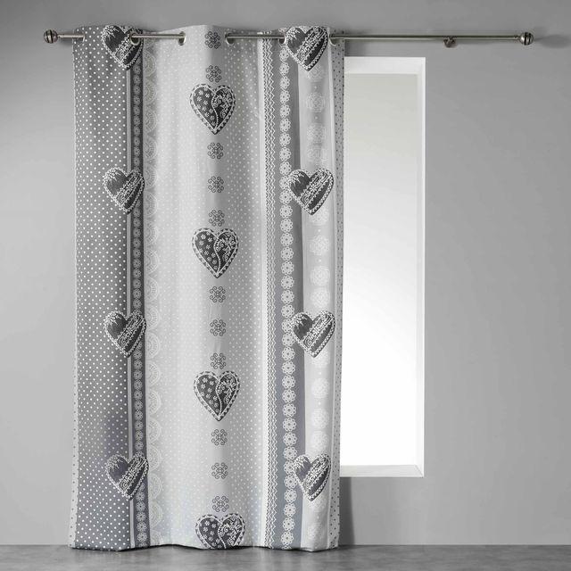 Couleur Montagne Cdaffaires Rideau a oeillets 140 x 240 cm coton imprime asmara Gris
