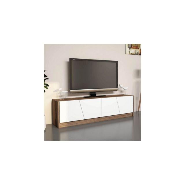 Homemania Meuble Tv Oro - avec Portes, Étagères - pour Salon - Wengé, Blanc en Bois, 150 x 30 x 40 cm