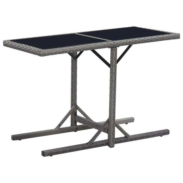 Vidaxl Table de jardin Noir 110x53x72 cm Verre et résine tressée