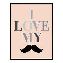 G&C Interiors - Cadre décoratif Moustache en bois Mdf et verre Gentleman