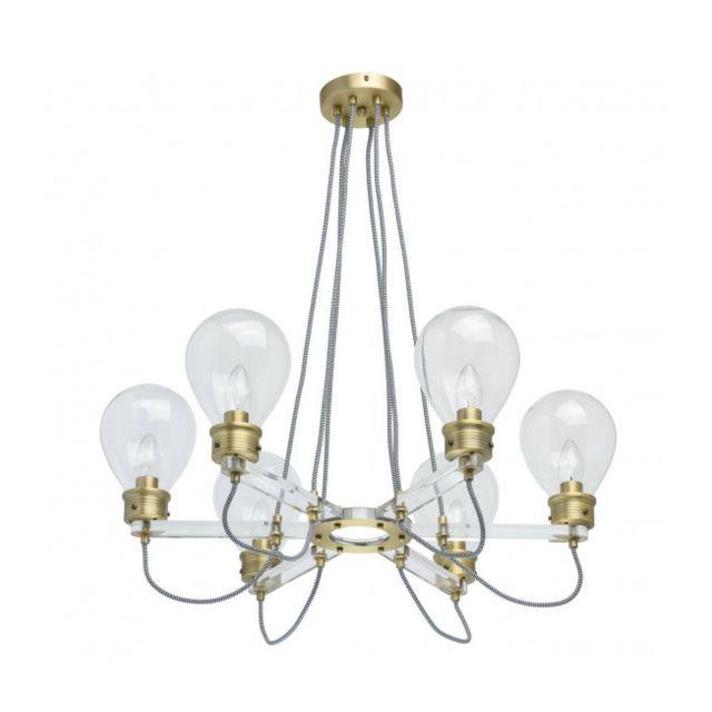 Luminaire Center Suspension laiton Loft 6 ampoules 72 Cm