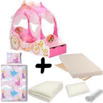 Bebe Gavroche - Pack complet Lit Carrosse Princesse Disney = Lit+Matelas & Parure+Couette+Oreiller