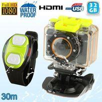 Yonis - Mini caméra sport caisson bracelet télécommande waterproof 30m Hd 32 Go