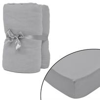 Rocambolesk - Superbe Drap-housse 2 pièces en coton 150 gsm 120x200-130x200 cm Gris neuf