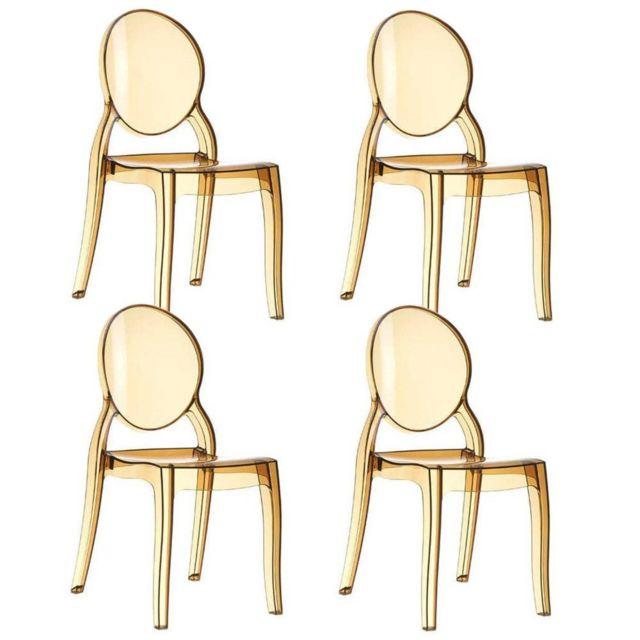Inside 75 , Lot de 4 chaises médaillon ImpÉRATRICE style Louis Xvi en  polycarbonate coloris champagne