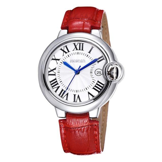 Wewoo - Montre en Cuir rouge et blanc femmes mode calendrier affichage  chiffre romain cadran en. Couleur de bracelet ... 8cb3b0544ac