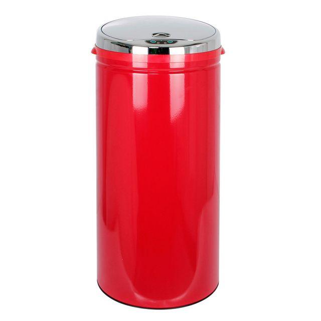 Hailo Poubelle de cuisine ronde automatique 42L rouge en inox Selekta Sensor
