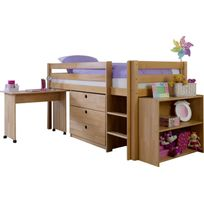 COMFORIUM - Lit mi-hauteur combiné 90x200 cm avec 3 tiroirs+étagère et un bureau en bois hêtre massif