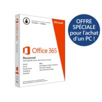MICROSOFT - Office 365 Personnel - Word Excel Power Point Outook One Note Publisher Access pour 1PC/Mac 1an Attach