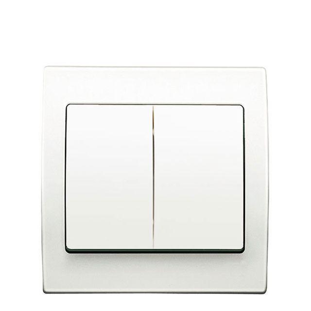 Siemens - Double Poussoir Blanc Delta Iris + Plaque basic Blanc