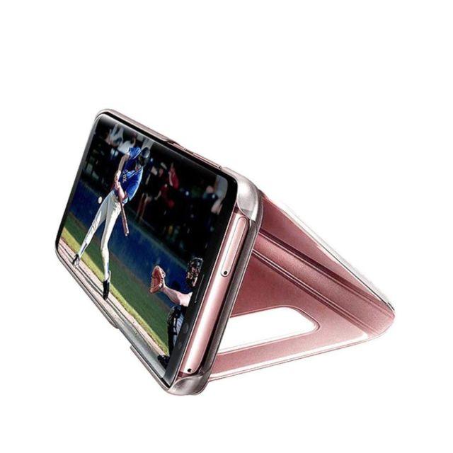 Coque pour Samsung Galaxy Note 9 Coque Clear View Case Etui Flip Clair Transparente Anti-Empreintes Housse Plating Mirror T/él/éphone Portable Couverture Note 9, Or