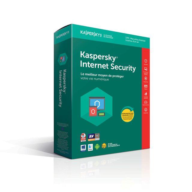KASPERSKY Internet Security 2018 1 Poste / 1 An Kaspersky Internet Security offre une protection complète contre les menaces que l'utilisation d'Internet fait peser sur votre identité, votre argent et votre famille.