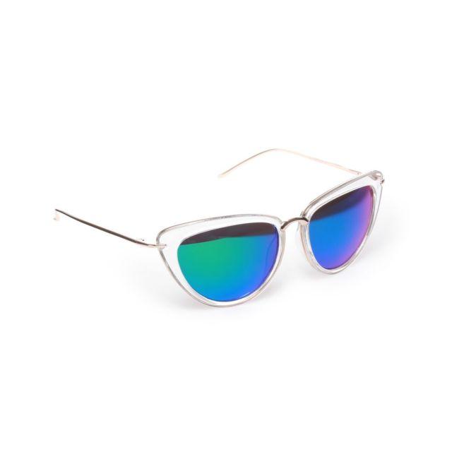 9e2ece03232a89 Lamodeuse - Lunettes de soleil oeil de chat transparentes verres bleus