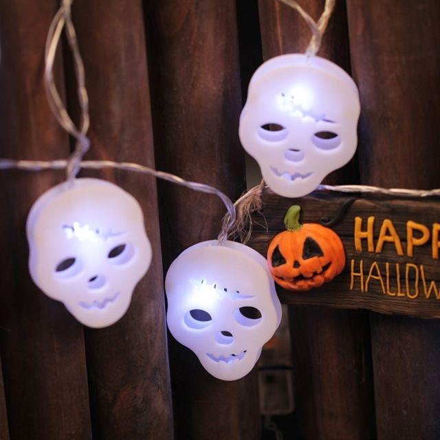 Del20 Design 5 Piles Halloween Guirlande Leds 3 Aa M Fantôme Lumineuse Par Boîte De Combinaison Série Actionnées Accessoires 2 À Tête qzMpUVS