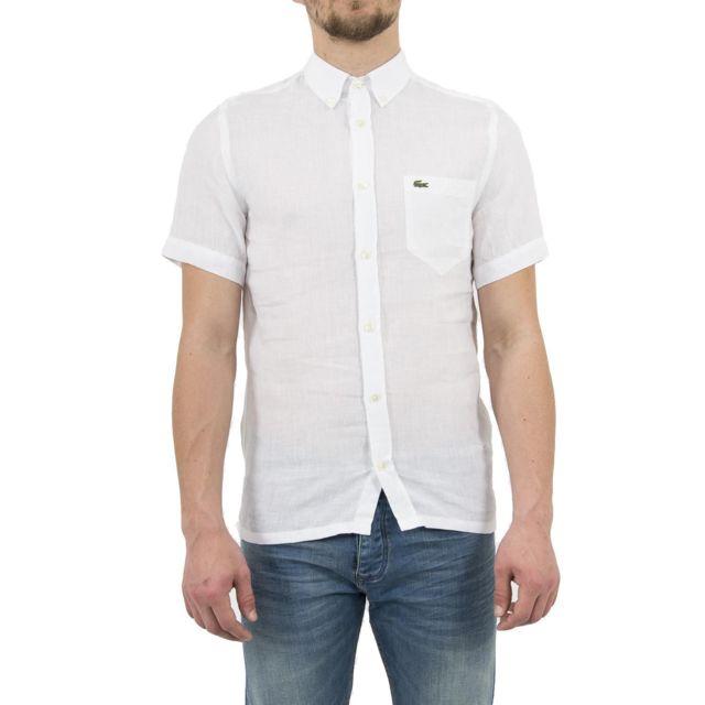 lacoste chemise manches courtes ch4991 blanc pas cher. Black Bedroom Furniture Sets. Home Design Ideas
