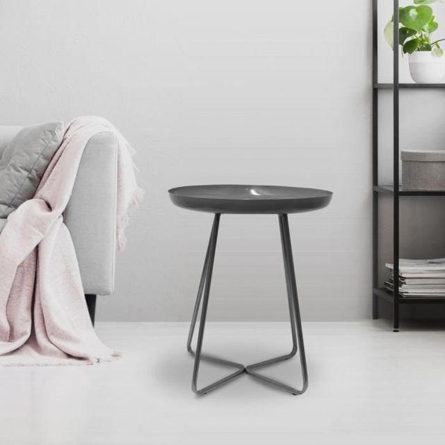 TABLE D'APPOINT - TABLE DE COMPLEMENT - GUERIDON Table d'appoint plateau rond glossy - Gris - L 40 x P 40 x H 48,5 cm
