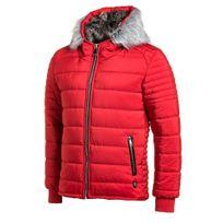 Uniplay - Doudoune homme rouge zippé à capuche fourrure