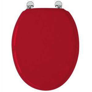 arvix abattant de toilette rouge en bois compress mdf charni re m tal siege wc standard pas. Black Bedroom Furniture Sets. Home Design Ideas