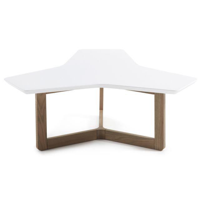 Kavehome Table basse Treffles 95 cm, chene et blanc